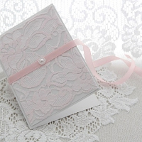 Heleroosa pitsiga käsitöökaart roosa paelaga